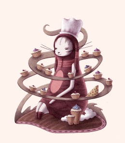 """""""Bunny with Cupcakes and Cheese"""" (pencil, colored in Photoshop)"""