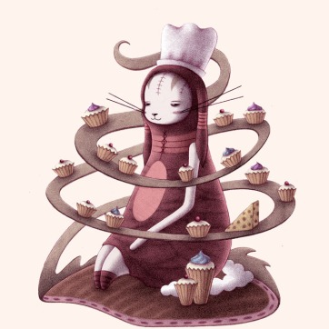 """Bunny with Cupcakes and Cheese"" (pencil, colored in Photoshop)"