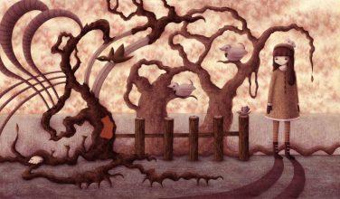 """""""Fall Scene"""" (graphite/colored in Photoshop, 18.25 x 10.5 in, 2012)"""