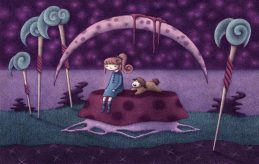 """""""Penelope and Booboo Participating in Meditative Thought"""" (pencil, colored in Photoshop)"""