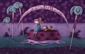 """""""Penelope and Booboo Participating in Meditative Thought"""" (graphite/colored in Photoshop, 11 x 7.25 in, 2013)"""