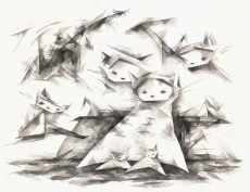 """Grr Cats"" (graphite) $85"