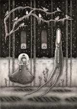 """Winter Forest"" (graphite, 10.5 x 15 in, 2018)"