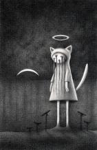 """Nighttime Halo Kitty"" (graphite)"