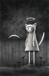 """""""Nighttime Halo Kitty"""" (graphite, 8 x 11 in, 2014)"""
