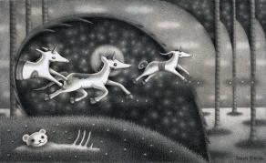 """""""Unicorns"""" (graphite, 11.25 x 7 in, 2018)"""