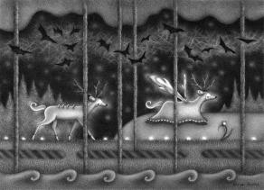 """""""Deer and Ghost Deer"""" (graphite, 10.5 x 7.5 in, 2020)"""